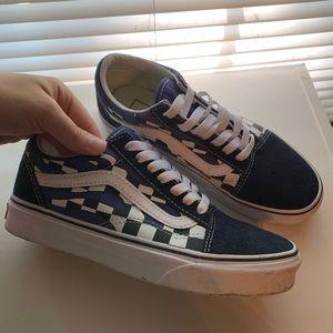 Blue Checkerboard Flame Old Skool Vans